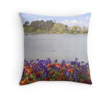 Lake Burley Griffin With Flowers Throw Pillow