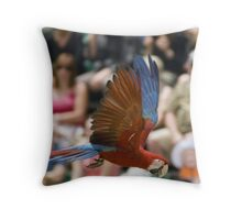 Green Winged Macaw in Flight Throw Pillow