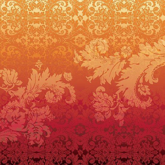 Retro floral wall paper by Lara Allport