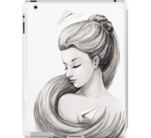 Woman with paper airplane iPad Case/Skin
