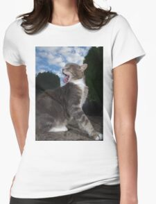 Tabby cat licking fur Womens Fitted T-Shirt