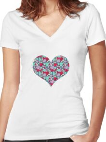 Sweet hearts mosaic pattern Women's Fitted V-Neck T-Shirt
