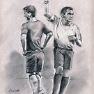Off! - original football referee drawing by Paulette Farrell
