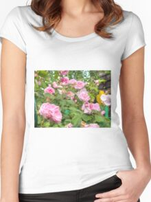 Pink Roses in the Garden Women's Fitted Scoop T-Shirt