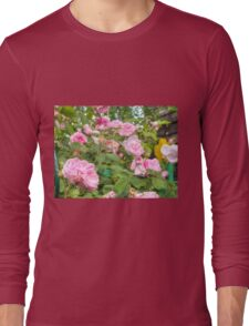 Pink Roses in the Garden Long Sleeve T-Shirt