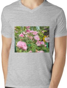 Pink Roses in the Garden Mens V-Neck T-Shirt