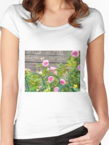 Pink Roses in the Garden 3 Women's Fitted Scoop T-Shirt