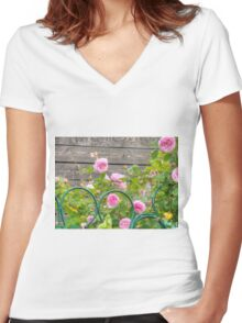 Pink Roses in the Garden 3 Women's Fitted V-Neck T-Shirt