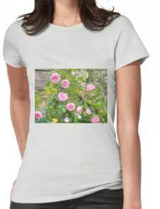 Pink Roses in the Garden 4 Womens Fitted T-Shirt
