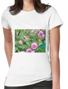 Pink Roses in the Garden 6 Womens Fitted T-Shirt