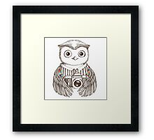Drawing owl with camera Framed Print