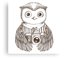 Drawing owl with camera Canvas Print
