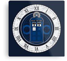 TARDIS and Clock - Doctor Who Metal Print