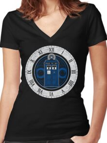 TARDIS and Clock - Doctor Who Women's Fitted V-Neck T-Shirt