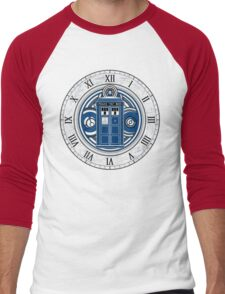 TARDIS and Clock - Doctor Who Men's Baseball ¾ T-Shirt