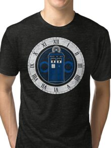 TARDIS and Clock - Doctor Who Tri-blend T-Shirt