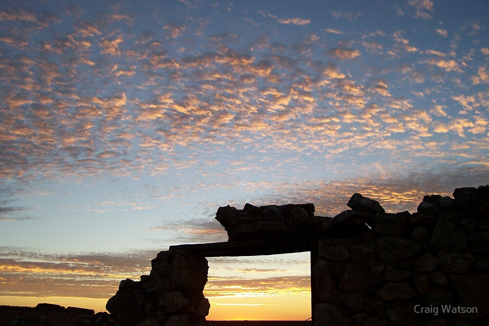 Sunset through farm yard ruin doorway near Yorketown SA by Craig Watson