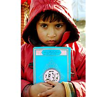 Child and Quran Photographic Print