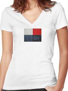 red black white v2.0 Women's Fitted V-Neck T-Shirt