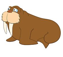 Cute smiling cartoon walrus by berlinrob