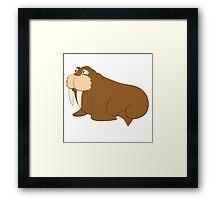 Cute smiling cartoon walrus Framed Print