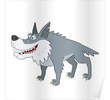 Cute cartoon wolf standing Poster