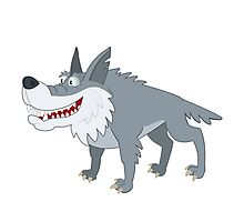 Cute cartoon wolf standing Photographic Print