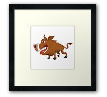 Angry cartoon boar standing Framed Print