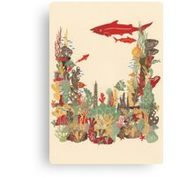Coral Reef Papercut Collage Canvas Print