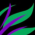Green and Purple Tropical Abstract by Julie Everhart