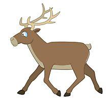 Cute cartoon reindeer walking Photographic Print