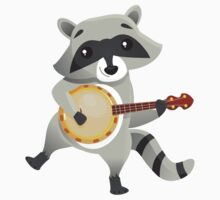 Funny raccoon playing the banjo Kids Clothes