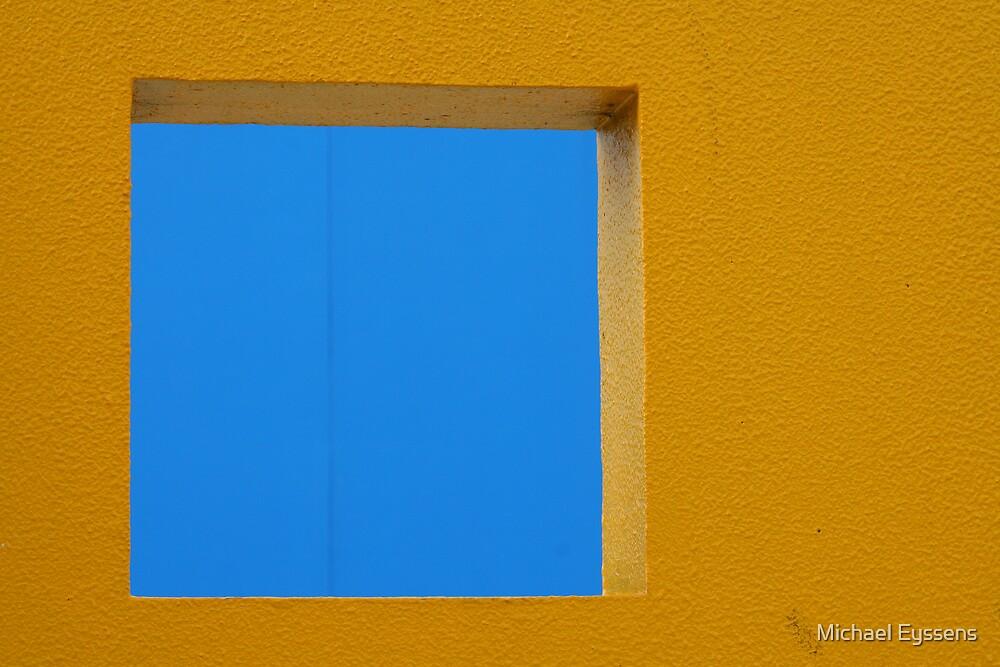 Blue Square Yellow Wall by Michael Eyssens