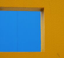 Blue Square Yellow Wall by Michael Eyssens
