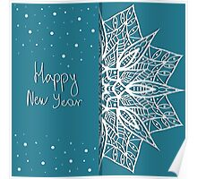 Christmas card with snowflakes  Poster