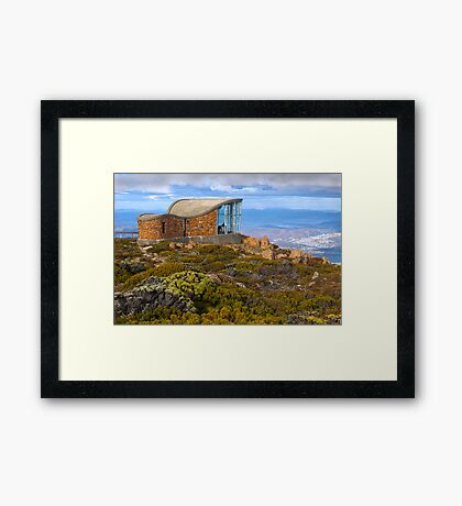 Pinnacle shelter at Mount Wellington Framed Print