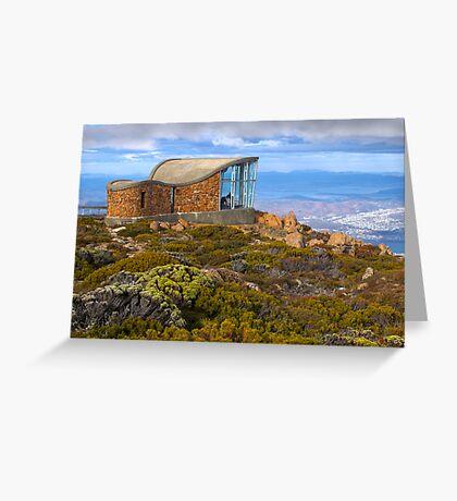 Pinnacle shelter at Mount Wellington Greeting Card
