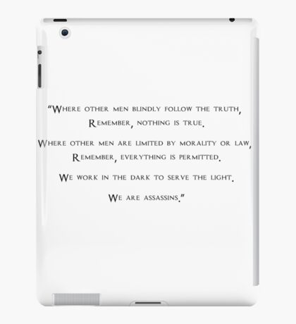 Assassin's Creed -  Quote iPad Case/Skin