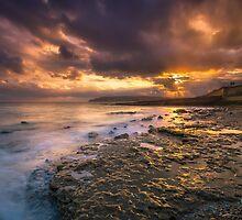 Yaverland Beach Sunset by manateevoyager