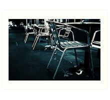 At empty chairs and empty tables Art Print