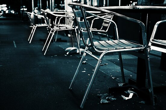 At empty chairs and empty tables by Pirostitch