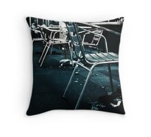 At empty chairs and empty tables Throw Pillow