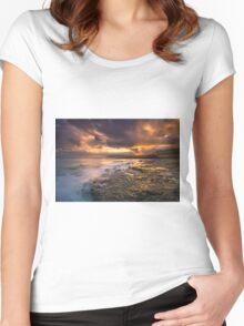 Yaverland Beach Sunset Women's Fitted Scoop T-Shirt