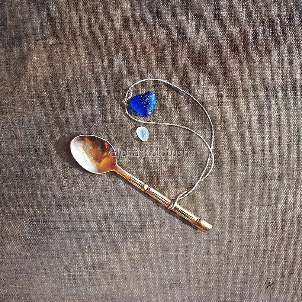 """Still life with teaspoon and seaglass"" by Elena Kolotusha"