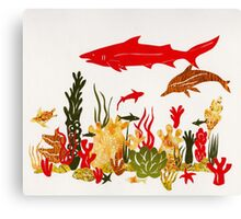 Coral Reef With Shark and Dolphin Papercut Canvas Print