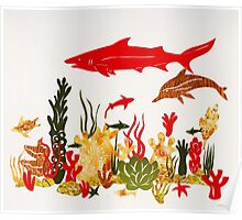 Coral Reef With Shark and Dolphin Papercut Poster