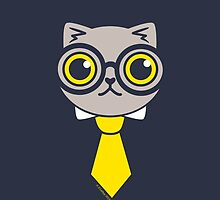Geeky Grey Kitty Cat by zoel
