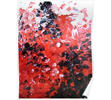 Vagabond red black white contemporary abstract painting Poster