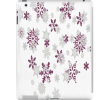 Pink and White Snowflakes With Transparent Background iPad Case/Skin