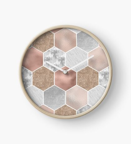 Gentle rose gold and marble hexagons Clock